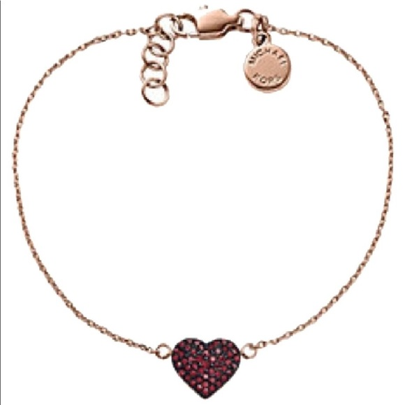 2793532e04f72 MK rose gold tone red Pave heart chain bracelet